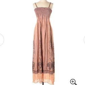 Anthropologie Lapis Golden brown Goddess dress
